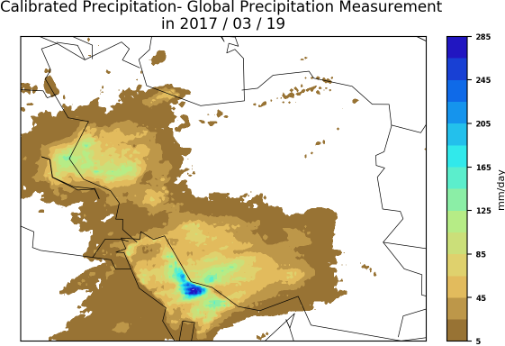 Amount of daily precipitation in 2017/03/19 in Iran derived from Global Precipitation Measurements mission